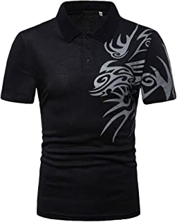 Men's Polo Shirts Dragon Print Short Sleeve Polo Shirts