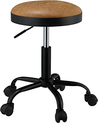 ACME Furniture Ouray Adjustable Stool with Swivel (Set of 2), Vintage Caramel PU and Black