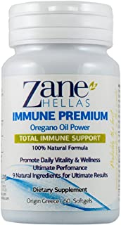 Zane Hellas Immune Premium Softgels. Multiple Defense System. Promotes Wellness. Helps Intestinal and Digestive Functions. 60 Softgels with 9 Ingredients.