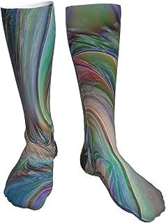 TongGuYunShangMaoYouXianGongSi, Calcetines Altos Calcetín Textura de vector abstracto arco iris Calcetines 50CM