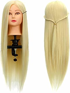 Practice Head model, LuckyFine 26'' Hairdressing Human Hair Practice & Makeup Head Training Mannequin + Clamp