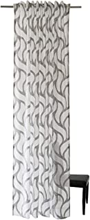 Homing 5433-28 Semi-Transparent Curtain with Concealed Loops White / Grey (1 Piece) 245 x 140 cm (H x W)