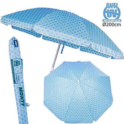 BAKAJI Ombrellone da Mare Spiaggia Giardino con Palo in Alluminio Reclinabile e Rivestimento in Tessuto Anti UV Diametro 200 cm con Tracolla Custodia