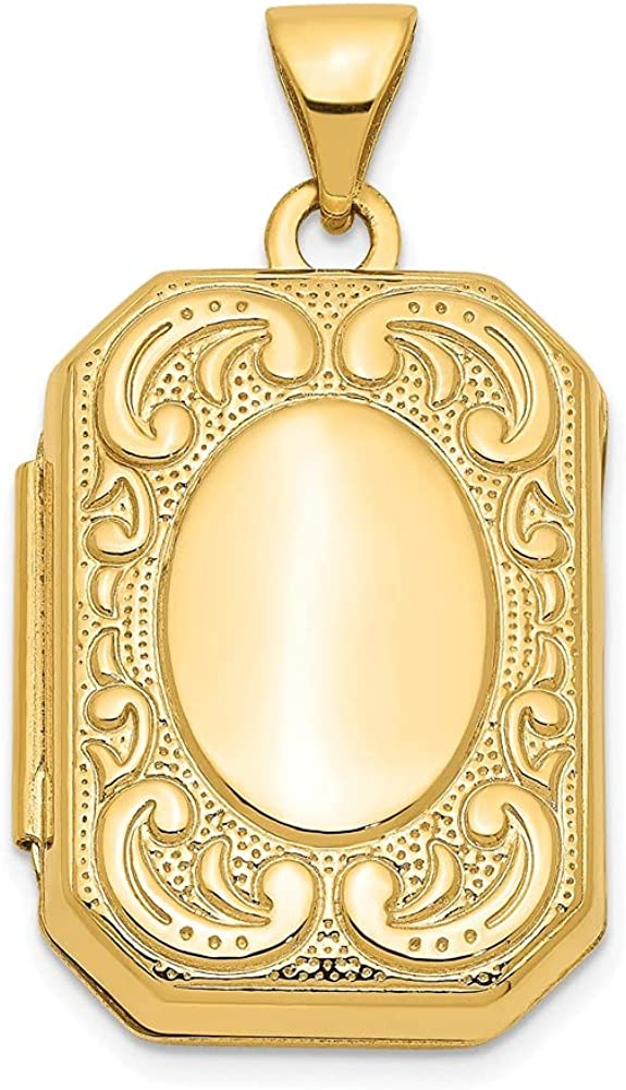 14k Yellow Gold Rectangle Photo Pendant Charm Locket Chain Necklace That Holds Pictures Shaped Fine Jewelry For Women Gifts For Her