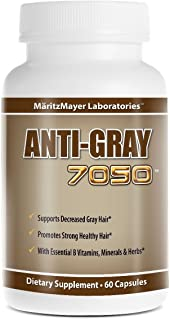 Anti-gray 7050 Hair 60 Capsules - Decrease Gray Hair - Restore Natural Hair Color - Contains Essential B Vitamins Minerals...