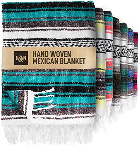 Handcrafted Large Mexican Blankets, Artisanal Handwoven Serape Blanket, Authentic Falsa Blanket, Beach Blanket, Camping Blanket, Picnic Blanket, Outdoor Blanket, Boho Throw Blankets, Emerald