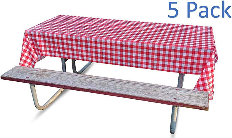 Disposable Tablecloths Plastic Tablecovers For Picnics Or Parties With Checkered Red And White Design 5 Pack