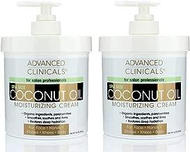 Advanced Clinicals Coconut Oil Cream Moisturizing Lotion. (Two - 16oz)
