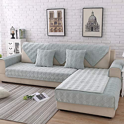 TEWENE Sofa Cover, Velvet Couch Cover Anti-Slip Sectional Couch Covers Sofa Slipcover for Dogs Cats Pet Love Seat Recliner Armrest Backrest Cover Teal 28''x59''(Only 1 Piece/Not All Set)