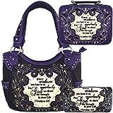 Scripture Cross Women Shoulder Bag Wallet Bible Cover Set Western Concealed Carry Purse Country Handbag (#1 Black/Purple)