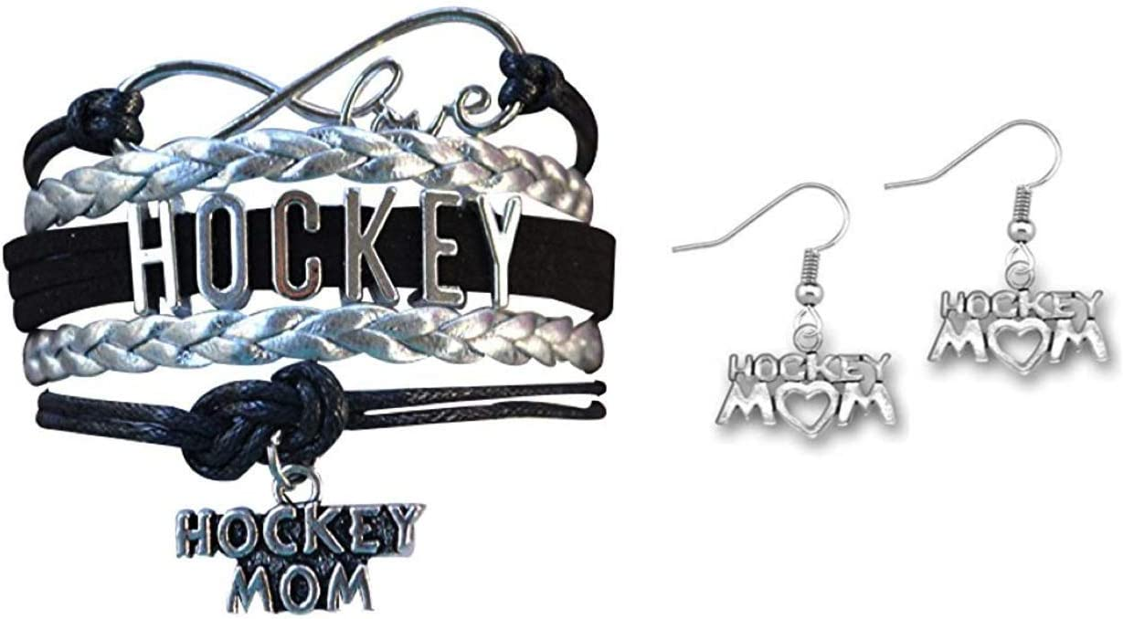 Infinity Collection Hockey Mom Jewelry Set, Hockey Mom Charm Bracelet & Hockey Mom Earrings for Mom