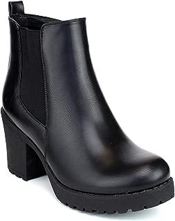 CLUB-01 Women's Slip On Chunky Heel Ankle