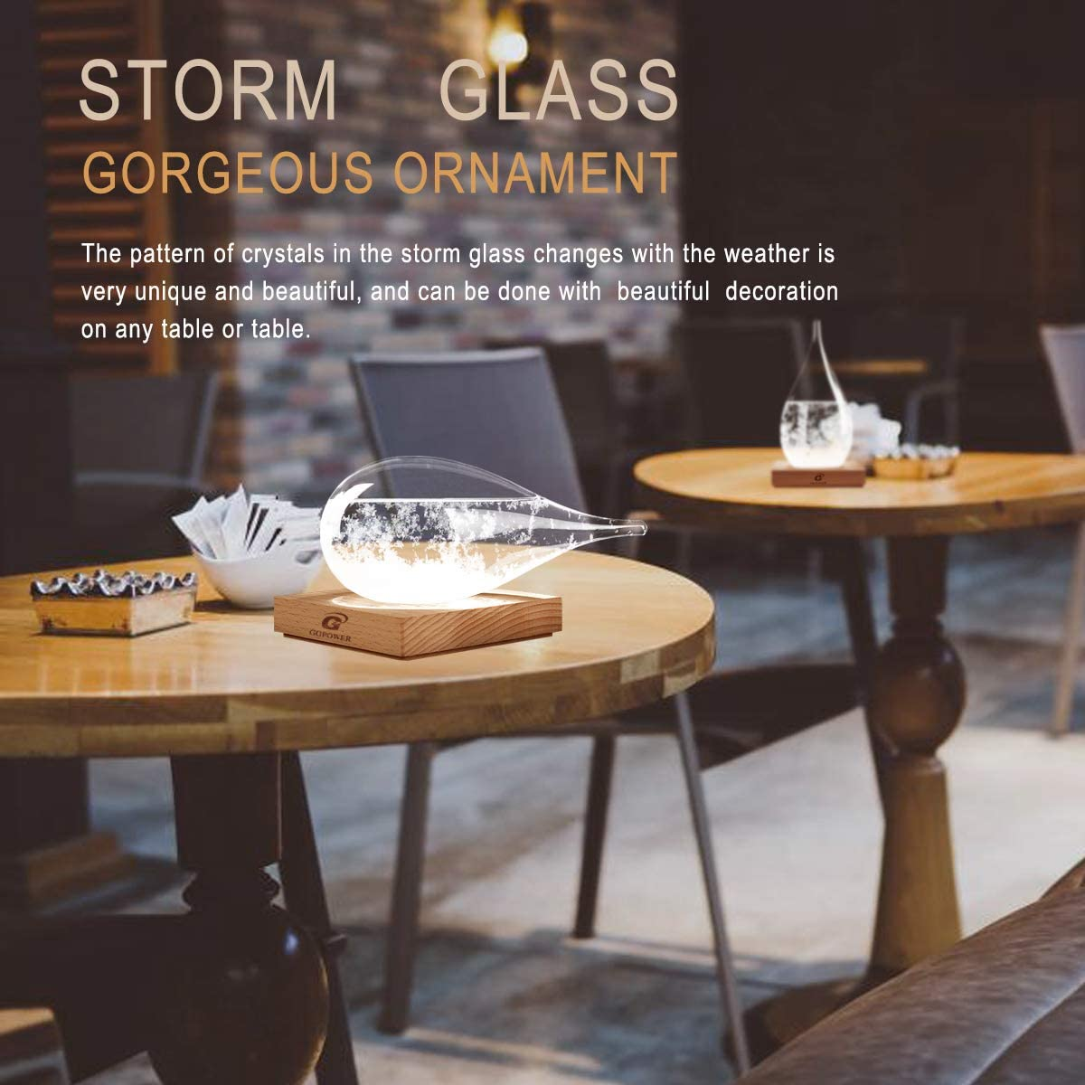L G GGPOWER Storm Glass Weather Forecast Desktop Fashion Creative Weather Station-Teardrop Weather Forecast Bottle-for Home and Office Decoration