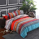mixinni Bohemian Retro Duvet Cover King Red/Orange/Blue Striped 3pc Soft Microfiber Bedding Set with Zipper Ties Perfect for Him and Her Easy Care, Soft and Durable- (3pcs, King Size)