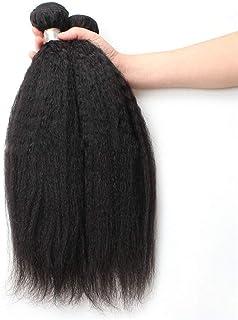 Yrattary 9Aブラジル人変態ストレート人間の髪1バンドル焼きストレートヘア100%未処理の人間の毛髪延長ナチュラルブラックカラー複合毛レースのかつらロールプレイングかつらストレートシリンダーショートスタイル女性自然 (色 : 黒, サイズ : 14 inch)