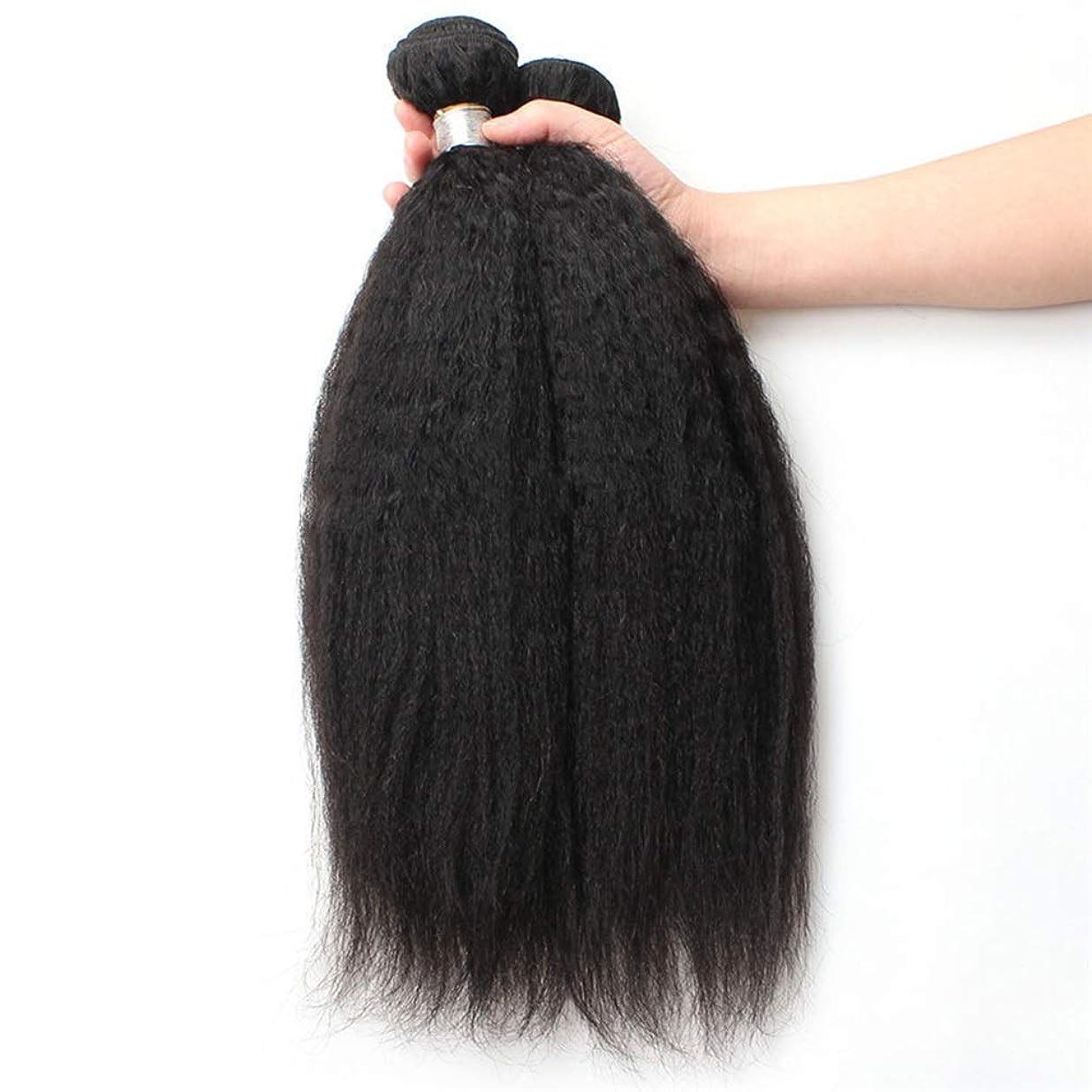 リムレンダーいわゆるWASAIO 閉鎖ボディ未処理の拡張機能生物黒着色1つのバンドルにブラジルのキンキーストレート人間の髪織り (色 : 黒, サイズ : 24 inch)
