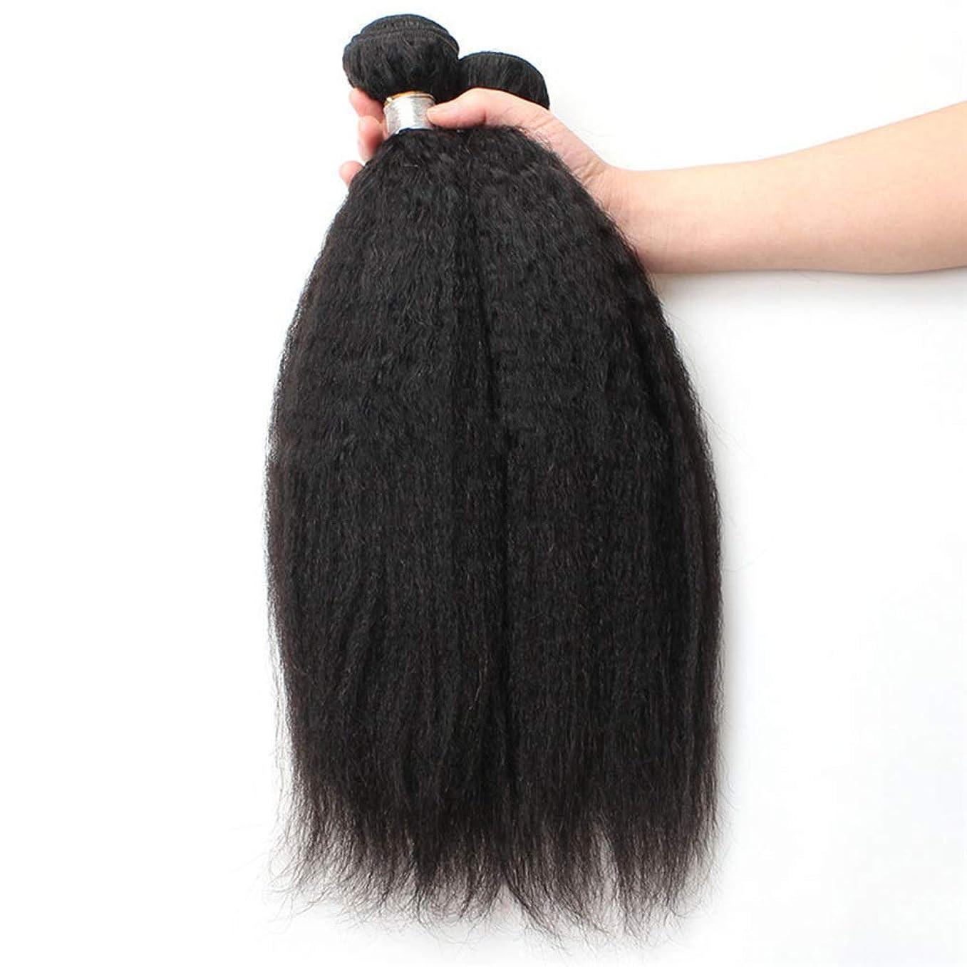 稚魚森林星YESONEEP 9Aブラジル人変態ストレート人間の髪1バンドル焼きストレートヘア100%未処理の人間の毛髪延長ナチュラルブラックカラー複合毛レースのかつらロールプレイングかつらストレートシリンダーショートスタイル女性自然 (色 : 黒, サイズ : 26 inch)
