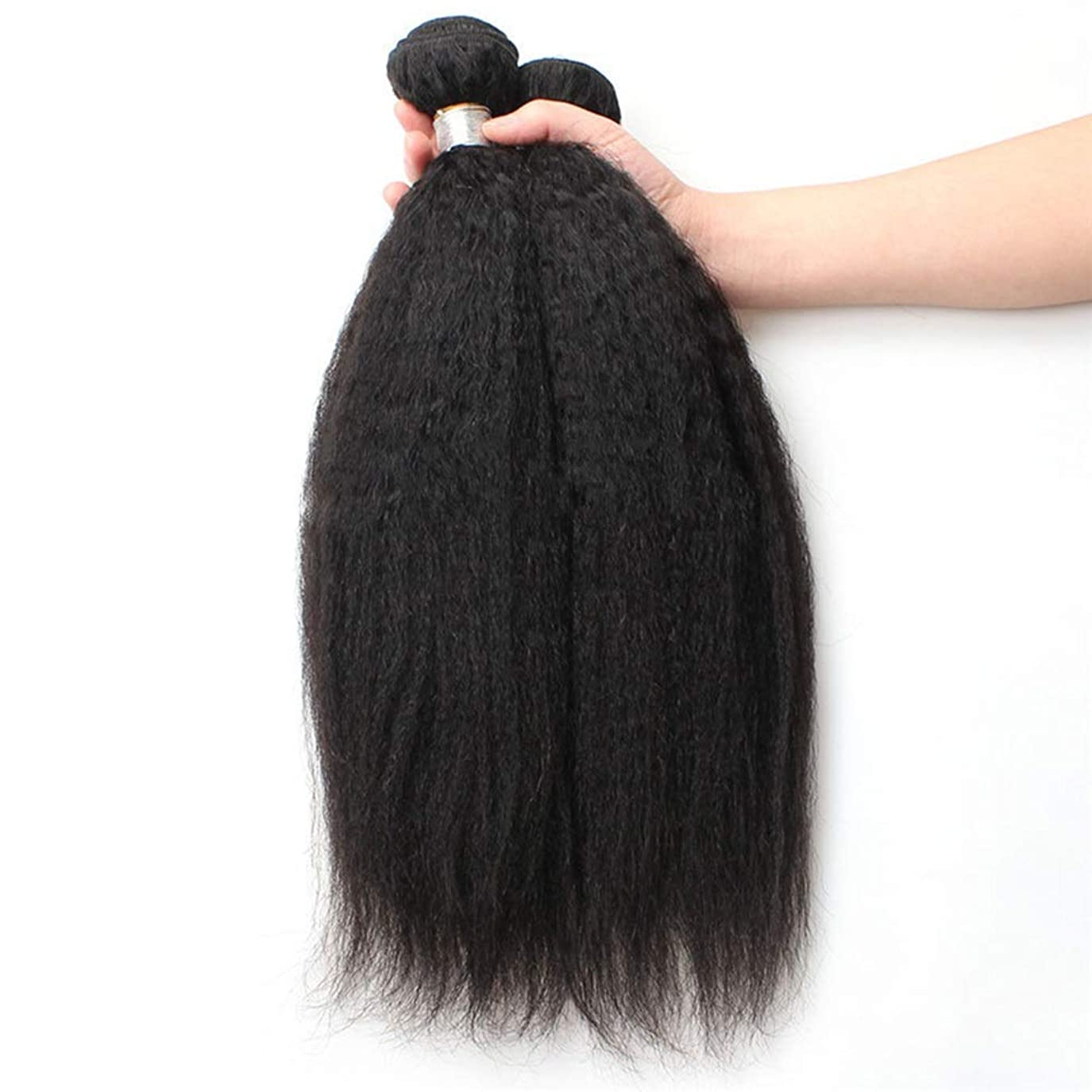 テクトニック番号乱暴なBOBIDYEE 9Aブラジル人変態ストレート人間の髪1バンドル焼きストレートヘア100%未処理の人間の毛髪延長ナチュラルブラックカラー複合毛レースのかつらロールプレイングかつらストレートシリンダーショートスタイル女性自然 (色 : 黒, サイズ : 14 inch)