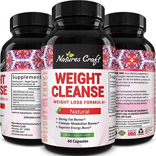 Pure Garcinia Cambogia HCA, Green Coffee Bean and Raspberry Ketones Complex - Ketogenic Weight Loss Pills Natural Fat Burner Appetite Suppressant - Best Metabolism Booster 60 Capsules by Natures Craft