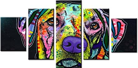 XDXART 5 pcs Home Decor Pictures Canvas Printed Painting, Decor Art - Colorful Dog Head Wall Art Oil Paintings Printed Pictures (Without Wooden Frames) (8x12x2p+8x16x2p+8X22inch)