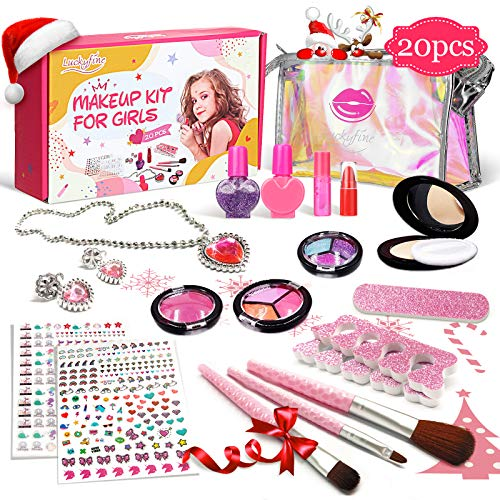 Kinderschminke Set, Luckyfine Mädchen Makeup Set, 20 Stücke Waschbar Schminkset Spielzeug Kosmetiktasche Kit für Rollenspiel/Spielzeug/Geschenk