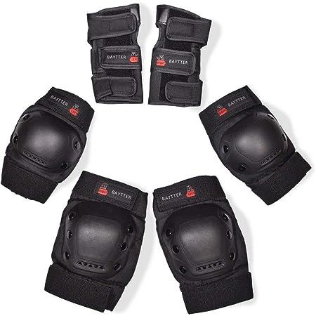 BAYTTER スケボー プロテクター 膝/肘/手首 保護パッド 6点セット 子供/大人用 インラインスケート ローラースケートに適用 専用袋付き