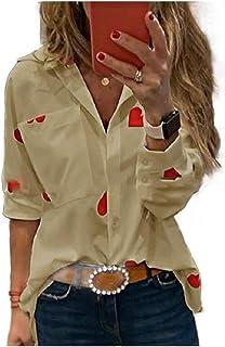 قمصان نسائية بأكمام طويلة ورقبة على شكل حرف V من Sayah قمصان مطبوعة بأزرار سفلية
