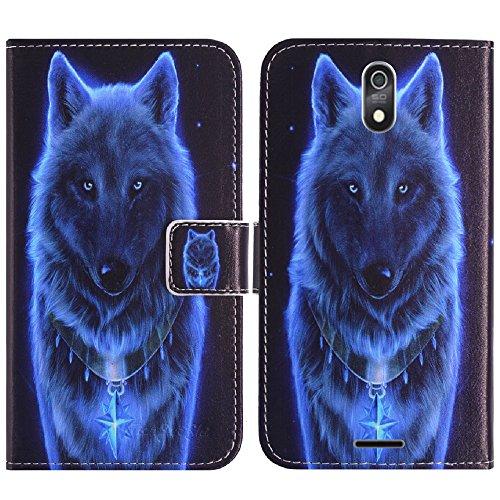 TienJueShi Wolf Flip Stand Brief Leder Tasche Schütz Hülle Handy Handy Hülle Für TP-Link Neffos C7 Lite 5.45 inch Abdeckung Wallet Cover Etüi