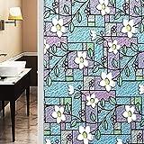 Película para Ventanas de privacidad con Estampado de Flores de Colores, Pegatina de Vidrio Anti-Ultravioleta, Adecuada para Sala de Estar y Sala de Estudio C 30x100cm