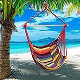Silla de la cuerda colgante Outdoortips acampar al aire libre jardín playa viaje lona Hamaca Columpio patio de algodón poliéster