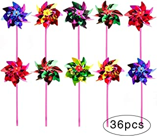 36 Pieces Plastic Rainbow Pinwheel, Lawn Garden DIY Windmill, Children Kids Party Pinwheels Wind Spinner Set for Kids Toy Garden Lawn Decor, Fun Carnival Party Toy, Flamboyant Colors, 15 x 36.5cm