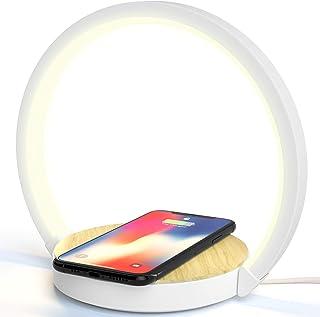 Lampe de chevet avec chargeur sans fil 10W pour chambre à coucher, veilleuse tactile à intensité variable avec 3 niveaux d...
