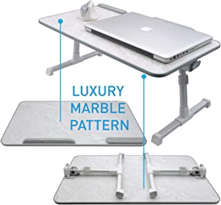 Macally Portable Laptop Table for Bed, [Large Size] Foldable & Height Adjustable Laptop Stand for Table - Sofa, Couch, Recliner - Folding Breakfast Tray Table with Legs, Notebook Lap Holder (Marble)
