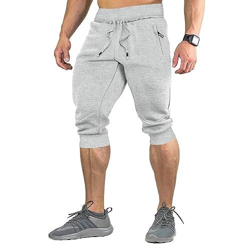 8916153a9e11 FASKUNOIE Men s Cotton Casual shorts 3 4 Jogger Capri Pants Breathable  Below Knee Short Pants