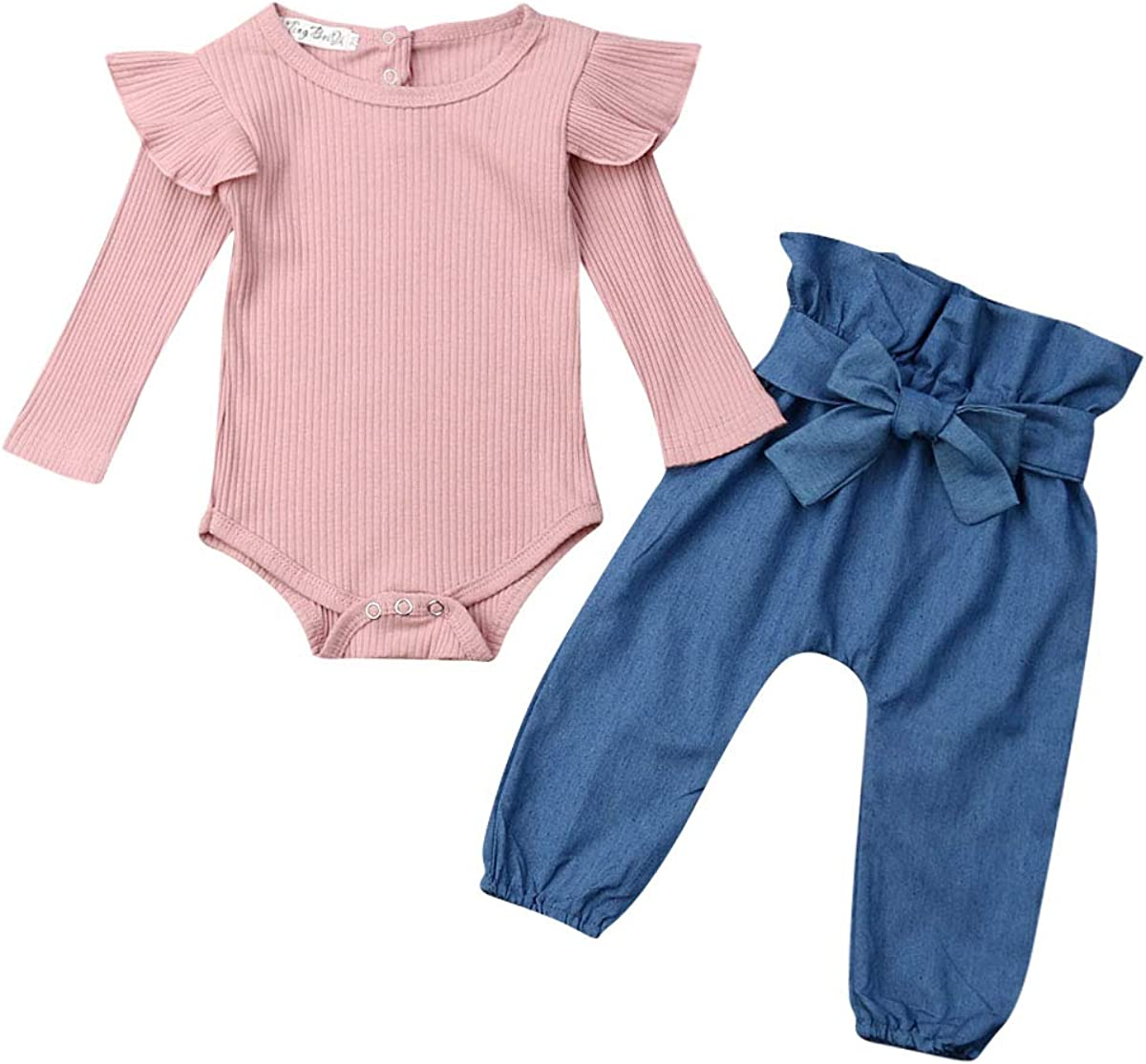 3PCS Outfits Baby Girls Ruffle Bodysuit Max 51% OFF Denim Jeans Romper Tops specialty shop
