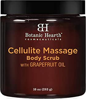 BOTANIC HEARTH Cellulite Massage Body Scrub with Grapefruit Essential Oil and Coconut Oil - Exfoliating, Smoothing, Hydrating and Nourishing - Promotes Firm Skin, 10 oz