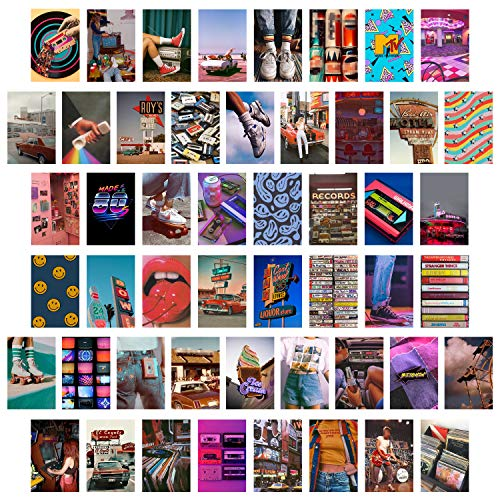 50 Retro 80er Jahre Ästhetisches Bild für Wandcollage, buntes Collage Set, Retro Raumdekoration für Mädchen, Wandkunstdrucke für Zimmer, Schlafsaal Foto Display, VSCO Poster für Schlafzimmer
