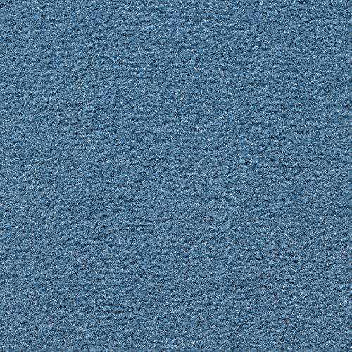 Teppichboden Velours Kurzflor in Blau | weiche & strapazierfähige Auslegeware | zugeschnittener Bodenbelag | Teppich Langflor in der Größe 200x400 cm | gemütliche Teppichfliesen