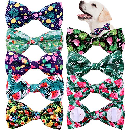 Spring Summer Dog Collar Attachment Bows Slide Fruit Hawaiian Styles Dog Bowtie 3.7' Double Layered Dog Bows Removable pet Grooming Ties 8pcs/Pack