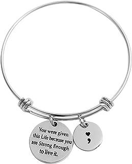 HOFOYA Semicolon Bangle Brave Survivor Expandable Wire Bangle Inspirational Meaningful Charm Bracelet
