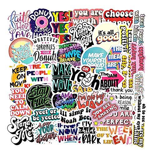 BLOUR 50 Stück/Packung Kreative inspirierende Phrase Graffiti-Aufkleber für Möbel Wand Schreibtisch DIY Stuhl Spielzeug Auto TV Gitarre Gitarre Motorrad usw.