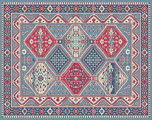 Home Life Alfombra persa / Estilo Oriental   Alfombra de algodón sala de estar / dormitorio / sala de estar con fondo antideslizante 60X140 Azul