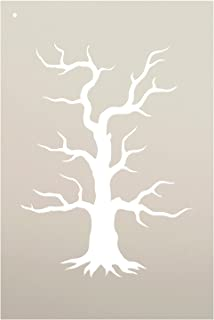 Spooky Hollow Tree Stencil by StudioR12   Haunted Halloween Art - Mini 4 x 6-inch Reusable Mylar Template   Painting, Chalk, Mixed Media   Use for Journaling, DIY Home Decor - STCL742_1