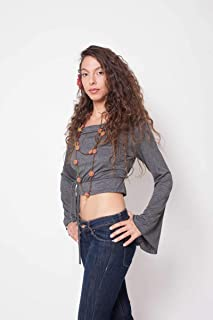 Grey Boho Top, Long Sleeves Dark Gray Crop Bamboo Top, Yoga And Festival Sexy Clothing, Handmade Bell Sleeve Gypsy Shirt For Girls And Women