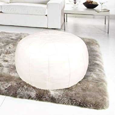 ZEFEN Unstuffed Pouf Foot Stool Round Decorative Leather Ottoman Cushion Storage seat or for Resting Your Feet on , Floor Cha