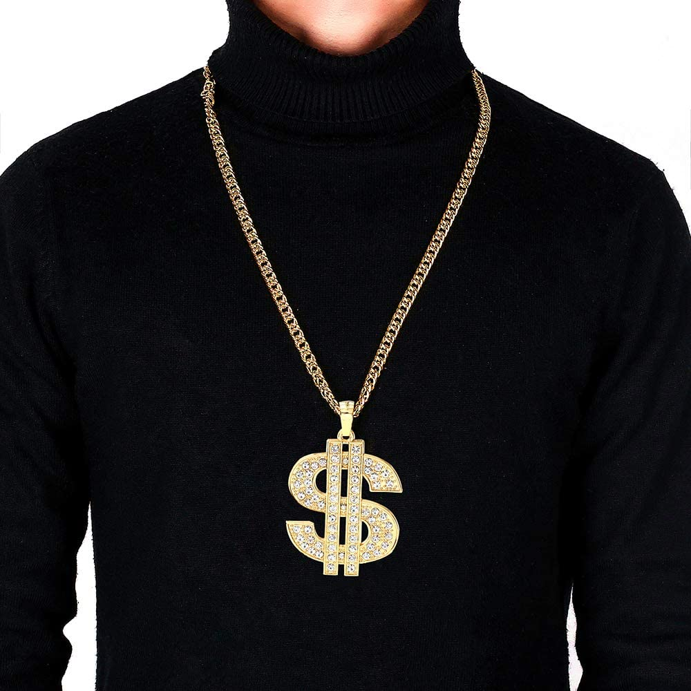 UEJUNBO Gold Chain with Dollar Sign Big Money Necklaces for Men Women,Stainless Steel Iced Out Rhinestone Jewelry,Fashion Pendants with 28 Inches Chain
