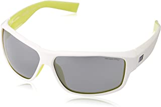 Expert Sunglasses, White/Electric Yellow, Grey with Silver Flash Lens