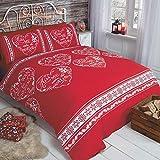 Christmas Hearts Fiocco di Neve Natale Cuori Slogan, Set di Copripiumino e 2federe per Letto Matrimoniale, Colore: Rosso