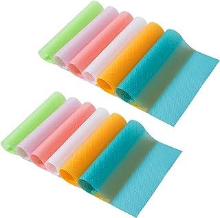 Bosdontek Lot de 12 tapis de réfrigérateur imperméables et antidérapants en EVA, également parfaits pour les tiroirs, étag...