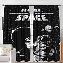 GUUVOR Astronaut Shading Insulated Curtain The Race to Space Retro Image with Space Crafts Planets Astronaut vs Cosmonauts Soundproof Shade W108 x L84 Inch Black White
